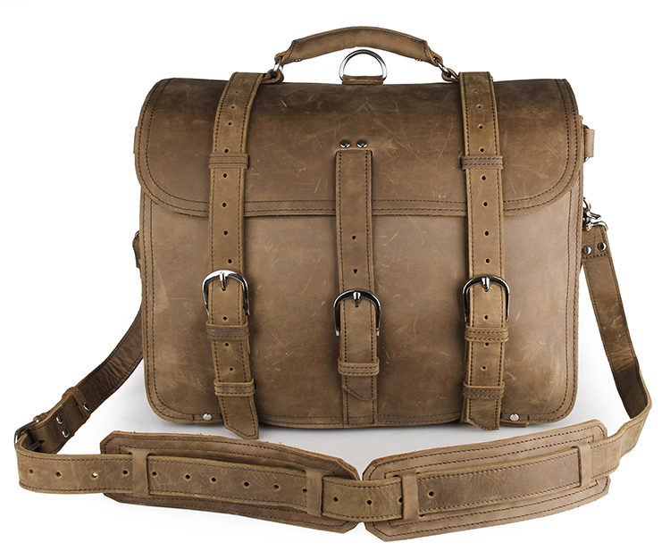 Augus High Quality Crazy Horse Leather Travel Bag Durable And Vintage Laptop Handbag For Men 7072B augus imported top layer leather messenger bag high quality crazy horse handbag brand new shoulder for men 7205r