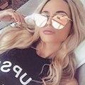 2016 diseñador de la marca cat eye sunglasses mujeres espejo plano llano fmale oro rosa vintage cateye gafas de sol de moda de señora eyewear