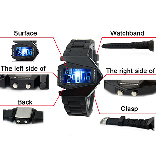 Cool Men's Oversized Design Light Digital Sports Plan Shaped Dial Electronics Wrist Watch Relojes 16