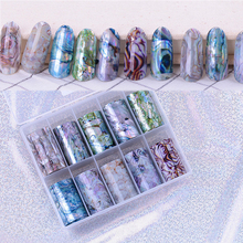 1 Box Shell Nail Folie Holiday Seaside Ontwerp Nail Transfer Folie Sticker Manicure Nail Art Decoraties