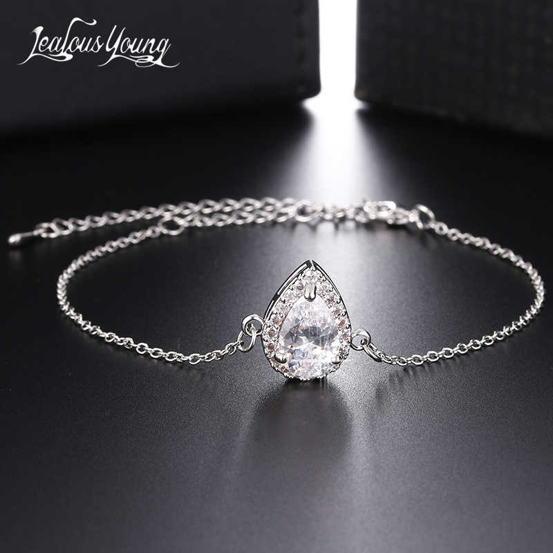 Fashion Water Drop Zircon Chain Link Bracelet Silver Color Bracelets & Bangles for Women Gift Charm Bracelet Jewelry Accessories