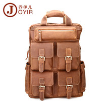 JOYIR Vintage Genuine Cowhide Leather Men Backpack Lots Pockets Large Causal Backpack Travel Bags For male man bag man gift