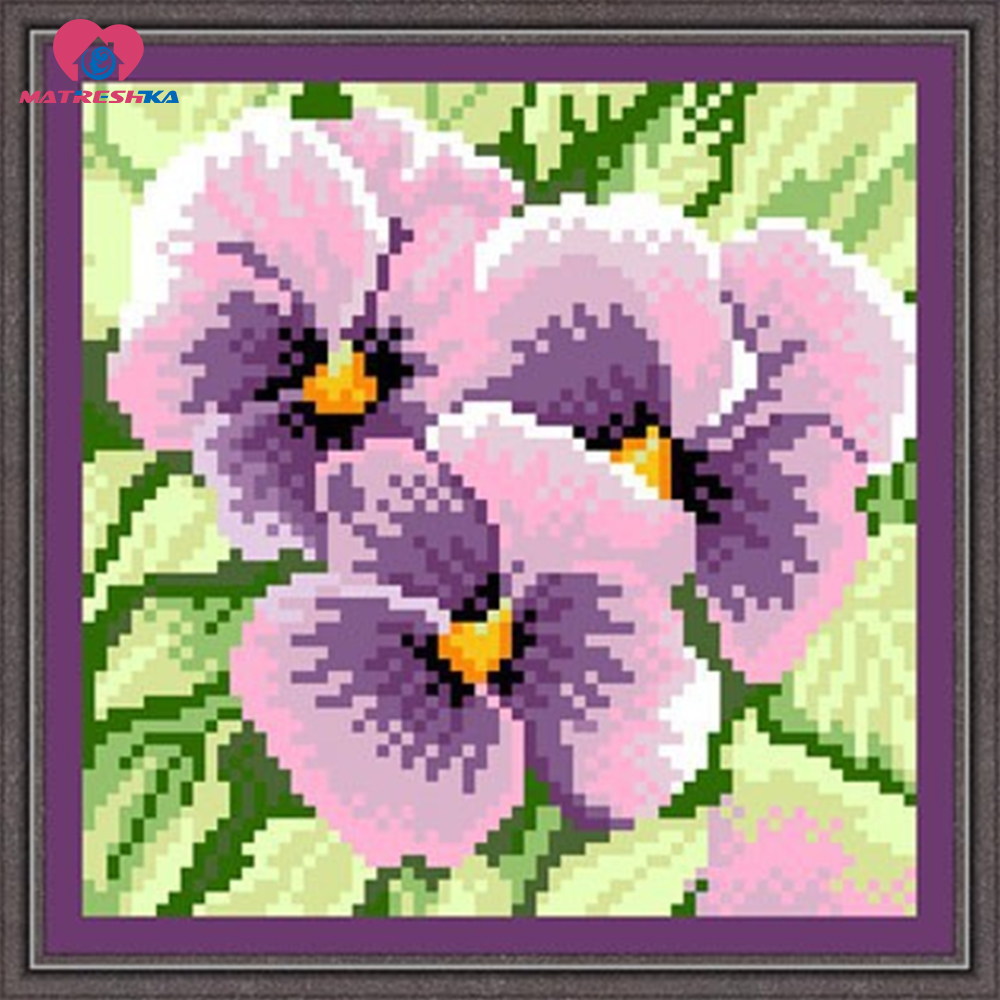 17*17cm Full Bead Embroidery Cross Purple Butterfly Orchid Needlework Home Decoration Crafts Diy Crochet Felt Costura Sewing