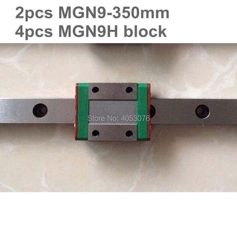 Guida lineare MGN9 miniatura diapositiva guida lineare 2 pz MGN9-350mm lineari rotaia di guida + 4 pz MGN9H di trasporto per le parti di cncGuida lineare MGN9 miniatura diapositiva guida lineare 2 pz MGN9-350mm lineari rotaia di guida + 4 pz MGN9H di trasporto per le parti di cnc