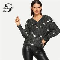 Sheinside Grey Oversized Sweater Pullover Women Sequin Detail Lace Up Back Batwing Sleeve Jumper Women Winter Tops Knit Sweaters