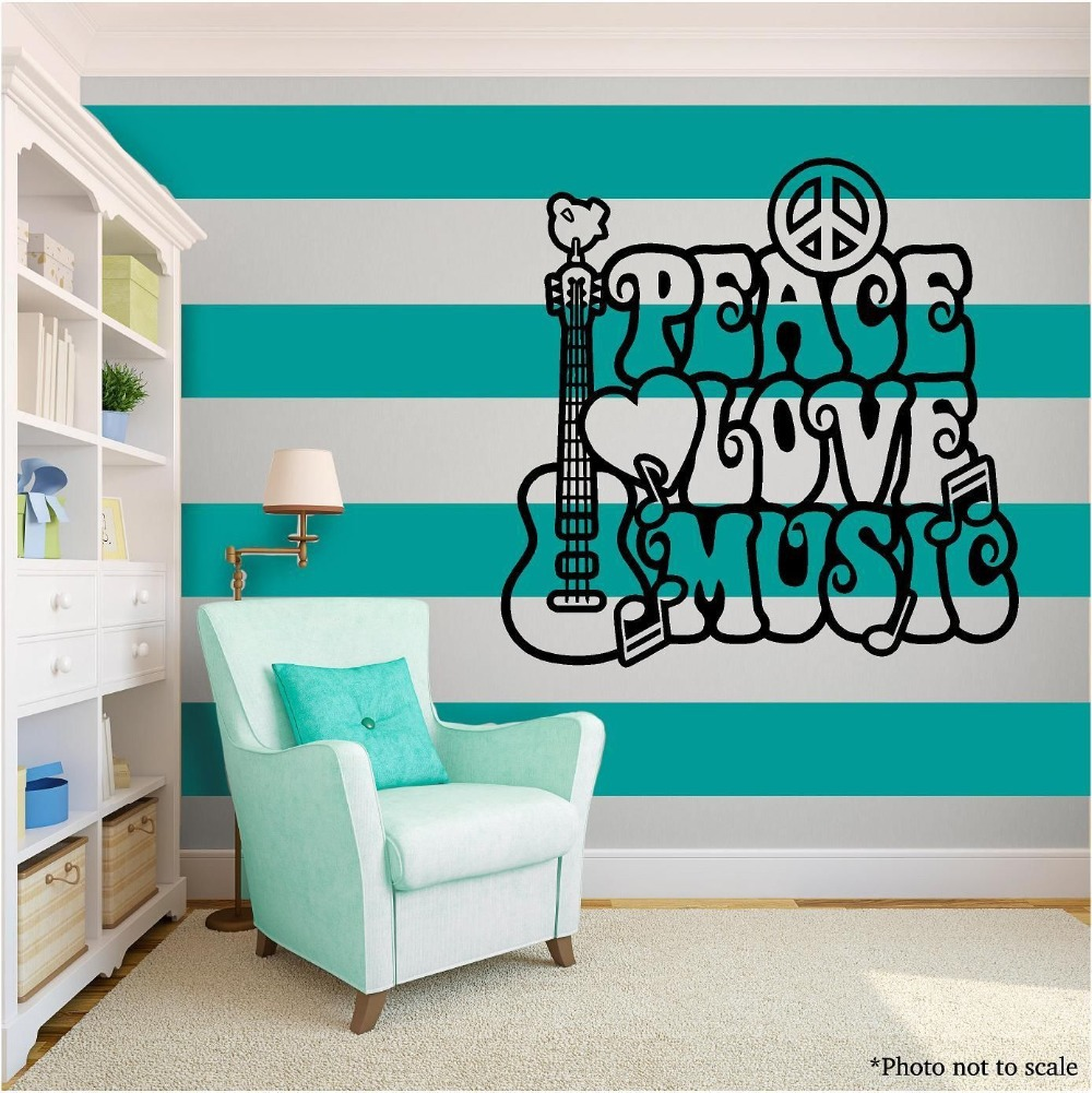 LOVE & MUSIC Family Vinyl Wall Decal Guitar Words Phrases Black Mural Art Wall Sticker Music Room Home Decoration