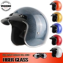 Envío libre, open face 3/4 motocicleta motocross Capacete casco de fibra de vidrio, Jet Vintage retro casco, Glitter cubierta, ECE