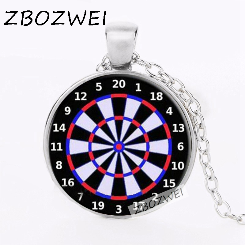 ZBOZWEI 2018 Dart Board Target Pendant Necklace Jewelry Fine Art Necklace Photo Jewelry Glass Pendant Gift ...