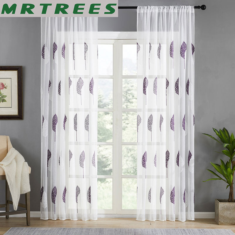 MRTREES Tulle Curtains Drapes Sheer Window Living-Room Custom Embroidered Modern For Kitchen