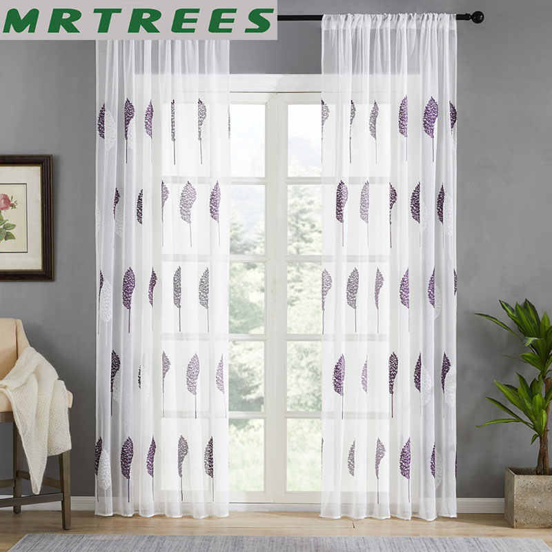MRTREES Embroidered Tulle Curtains for Living Room Bedroom Curtains for Kitchen Window Sheer Modern Voile Curtain Drapes Custom