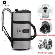 OZUKO חליפת אחסון תיק תכליתי גברים חליפת נסיעות תיק קיבולת גדולה עמיד למים דובון תיק לטיול יד מטען שקיות