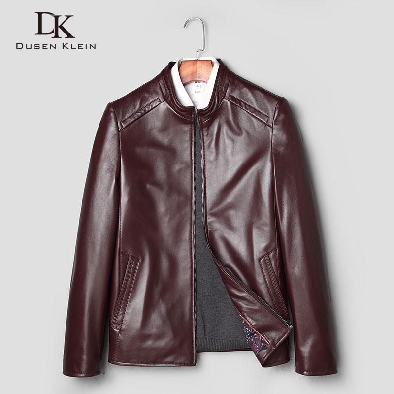 Spring leather jackets Men New 2018 Dusen Klein Brand Slim/Business Genuine sheepskin coat Wine Red/black leather coats J7821