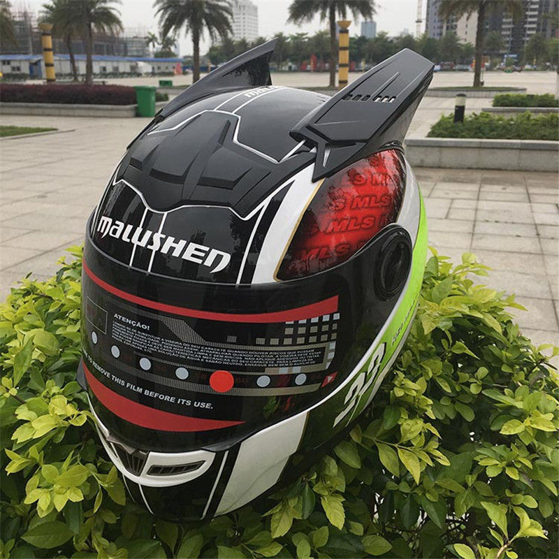 MALUSHEN Unisex Motorcycle Helmet Moto Helmet Moto Cat Helmet Personality Full Face Motor Helmet Mix color Black Corn Green