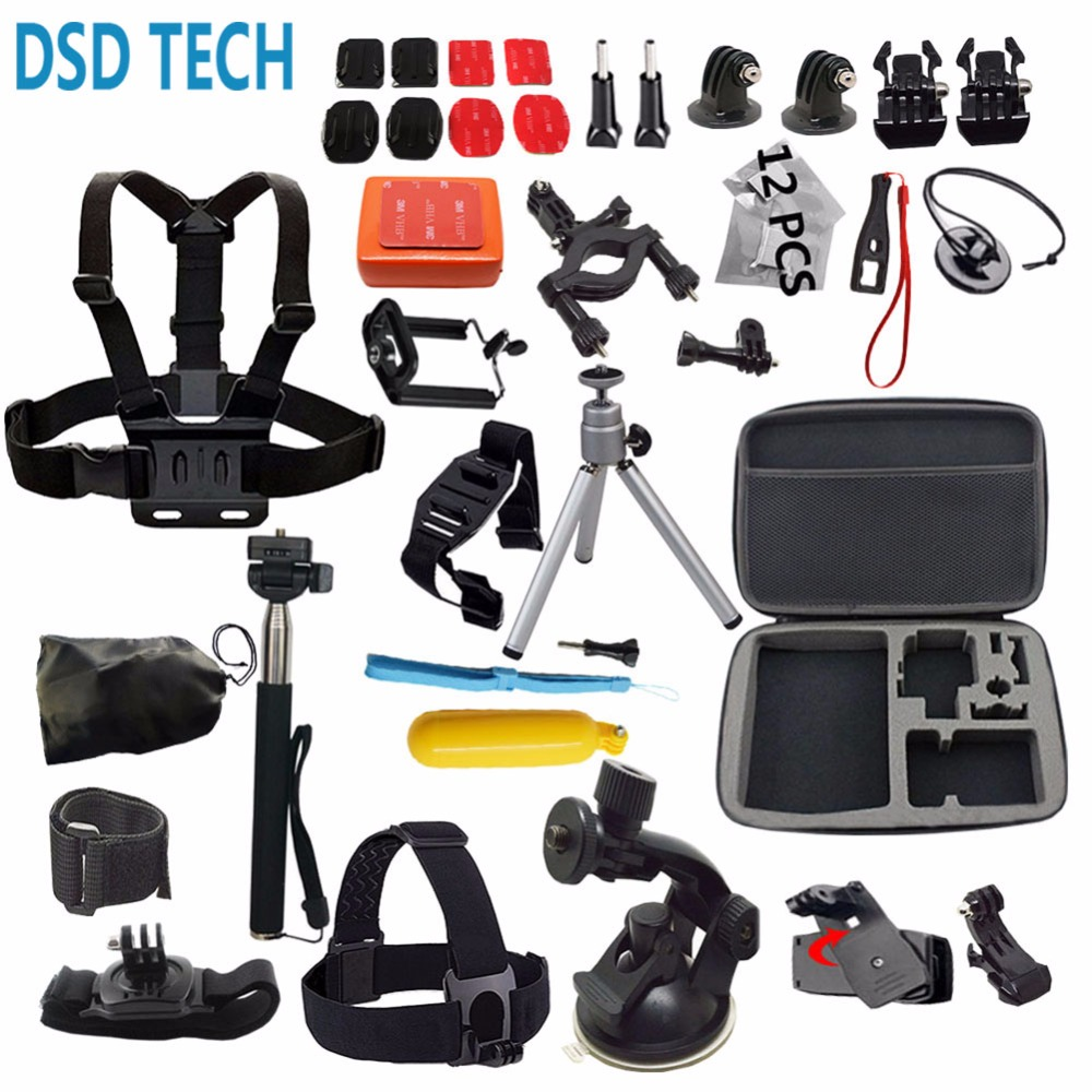 Galleria fotografica DSD TECH Sports action camera Accessories kit with Carrying Case for Gopro HERO 6 5 4 3 SJ4000 session xiaomi sj4000 sj5000x 12G