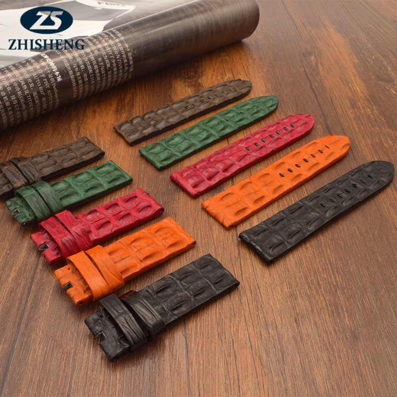 Bahan Kulit Motif Buaya Karet Gelang Jam Butterfly Gesper untuk Tali untuk Big Bang Belt Watch Band Logo