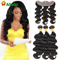 Stema Hair Company With Closure Peruvian 7a Ear To Ear Lace Frontal Closure With Bundles Body Wave With Closure Vishine Hair