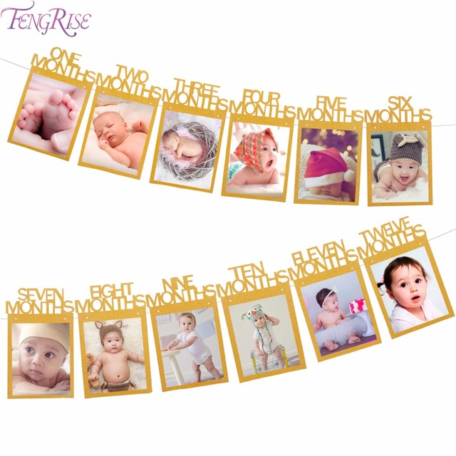 FENGRISE Baby 1st Birthday Banner Gold Paper Photo Frame Baby Shower ...