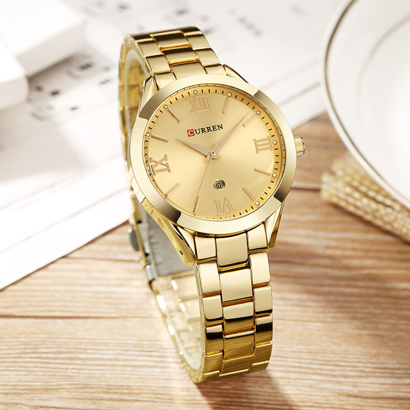 6cb665a0ae4 CURREN Relógio De Ouro Rosa Mulheres Relógios de Quartzo Das ...