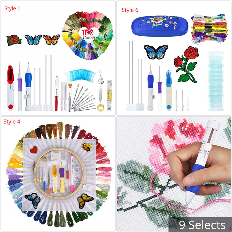 Looen Magic Embroidery Pen Punch Needle Set With Embroidery Threads DIY Sewing Knitting Kit Needle Arts Craft With Case For Mom(China)