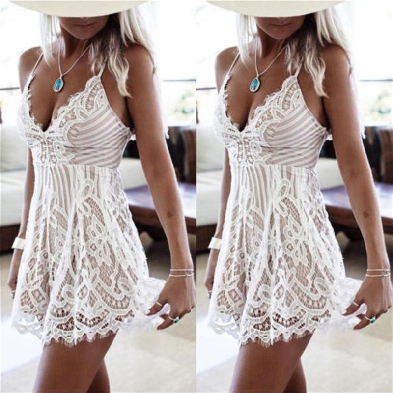 ITFABS Swimwear Women Summer Sleeveless Beach Cover Ups Lace Short Mini Dress White Lace Hollow Cover Up Bikini
