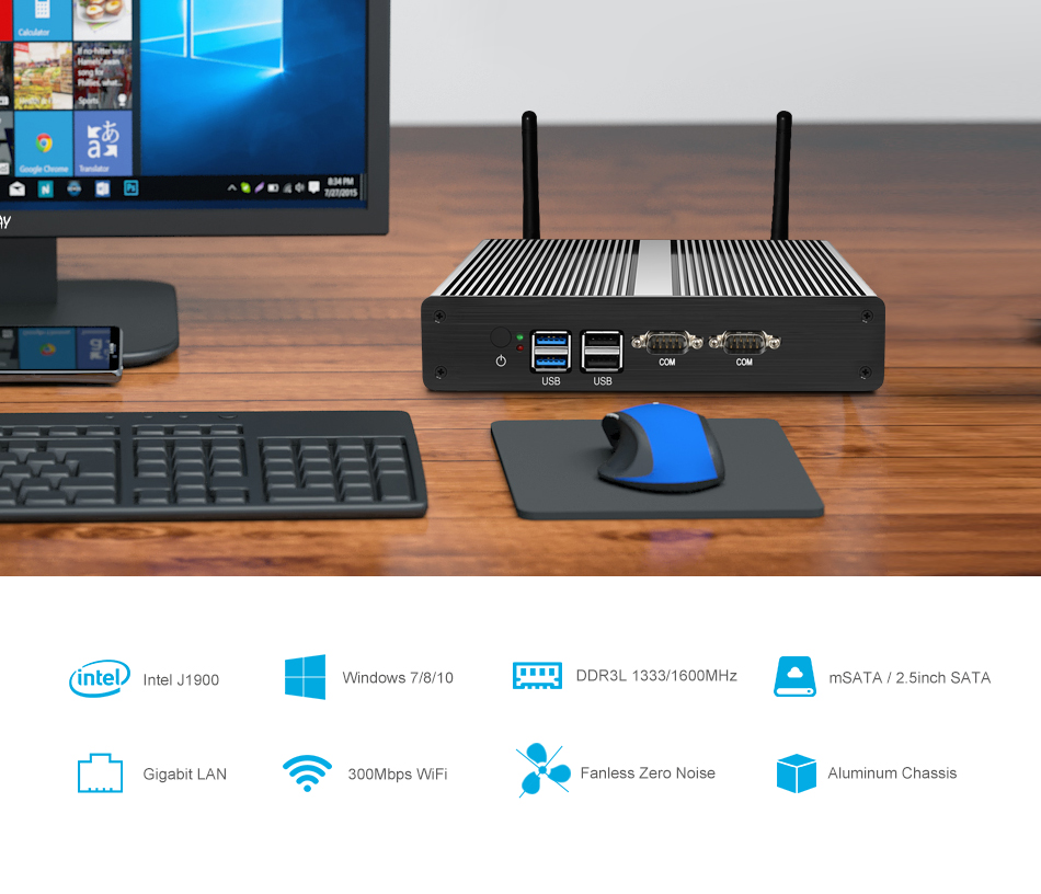 XCY Dual NIC Mini PC Intel Celeron J1900 J1800 Support