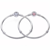 New Arrival European Popular Heart Design Clasp 925 Geniune Silver Bracelet Fitting European Famous Brand Charms