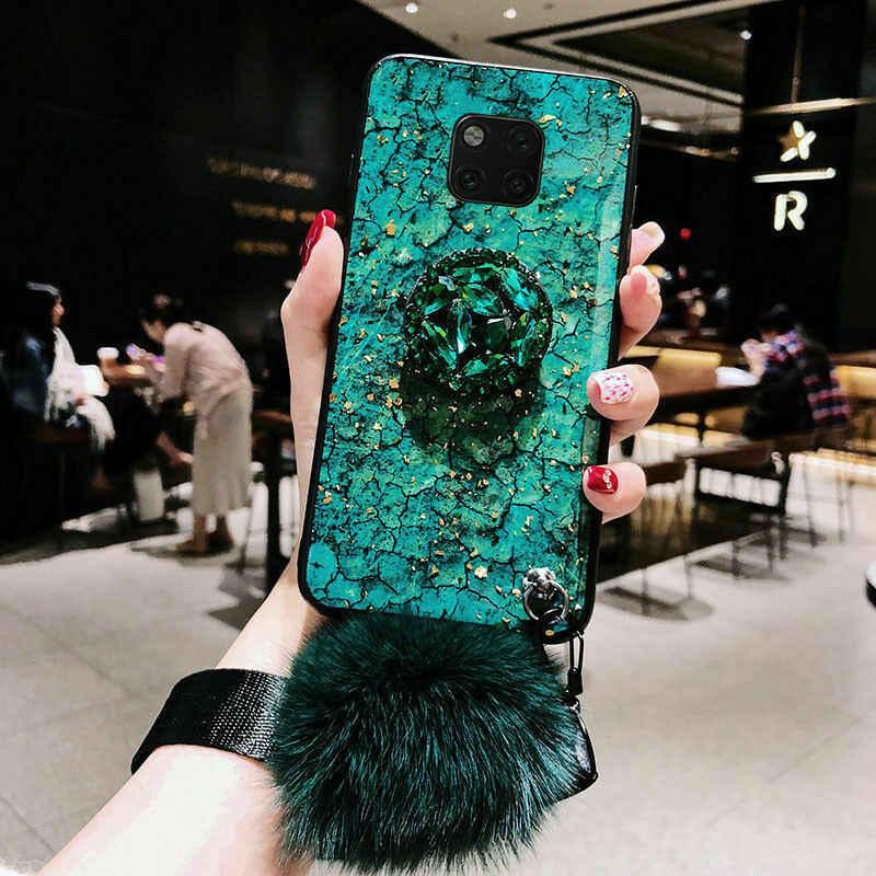 Luxo colorido mármore 3D diamante brilhante stand bola de cabelo da moda corda case capa para a caixa do telefone huawei honor 8 p10lite p10