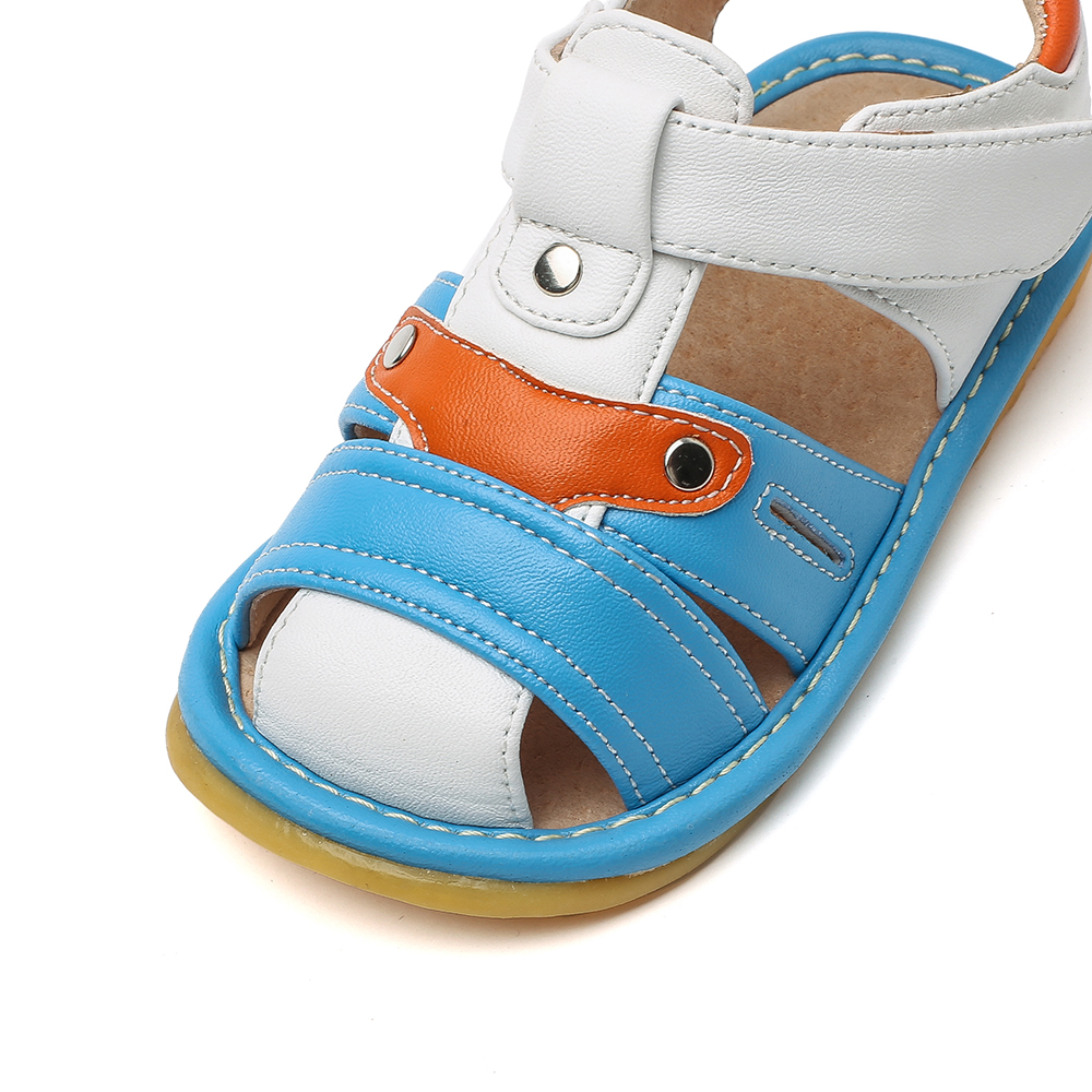 little boys squeaky sandals closed toe white blue grey 1-3 years kids summer shoe chaussure menino zapato can nonsqueak cute