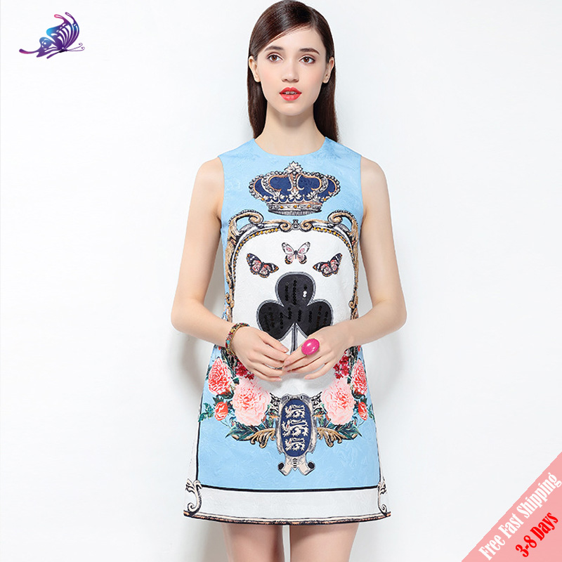 New 2018 Fashion Runway Designer Dress Womens Summer Crown Diamonds Sequined Playing Cards Printed Tank Dress Fast DHL Shipping