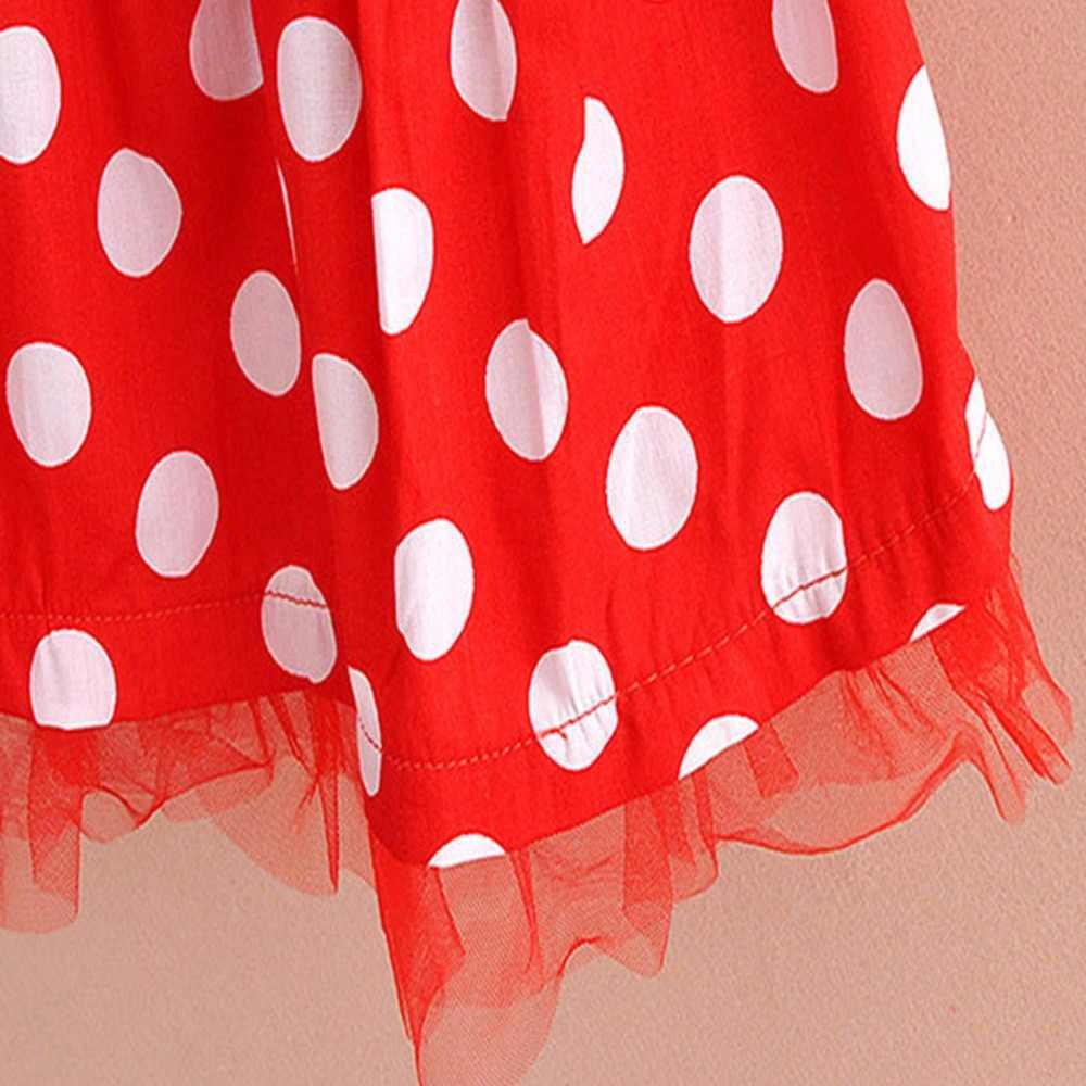 Повседневный комплект из 2 предметов в горошек, милая детская одежда для маленьких девочек, футболка с Минни и Микки Маусом + сетчатая юбка вечерние ное платье, жилет и юбка, одежда для малышей
