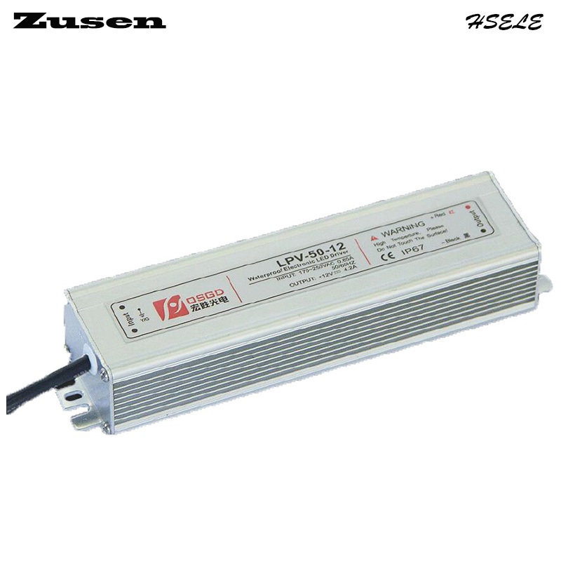 Zusen LPV-50W-12V 4.2A  LED laboratory waterproof Switch Power supply 90~260VAC to 12VDC IP67 meanwell 24v 60w ul certificated lpv series ip67 waterproof power supply 90 264v ac to 24v dc