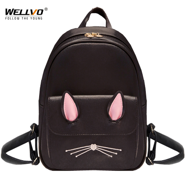 цена на Cat Ear Leather Backpack Women Backpacks School Bags For Teenage Girls Rucksack Kids Lovely Cute Travel Bag Mochila Cats XA2037C