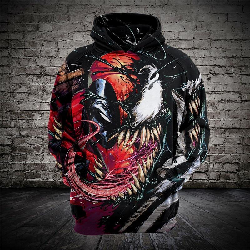 2018 NEW Cool Venom Spider-Man Hoodies 3D Print Zipper Hoodies Tops Coat  Jacket Sweatshirt Pullovers US Size