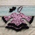 День святого валентина девушки детские детская одежда русалка печати хлопок Зимние оборками dress бутик flare рукавом соответствующие ожерелье & лук