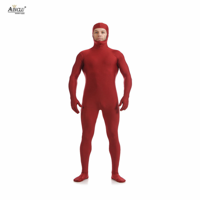 Ainclu Mens Spandex Nylon Lycra Zentai Red Body Second Skin Tight All-inclusive Open Face Dancewear Costume Hallween Bodysuit