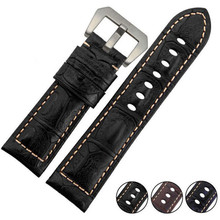 Handmade Bamboo pattern 24mm Cowhide Genuine Leather Watch band Strap + Buckle Generic Fit PAM For Polit Watch + Tools все цены