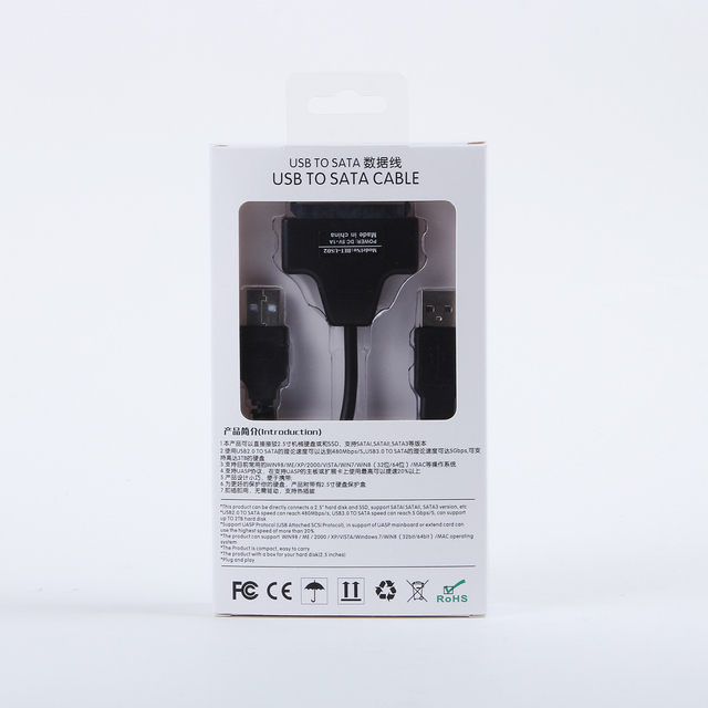 """50pcs/ lots Retail packaging USB 2.0 to SATA 7+15 Pin 22 Pin Adapter Cable For 2.5"""" HDD Hard Disk Drive With Box Case , By Fedex"""