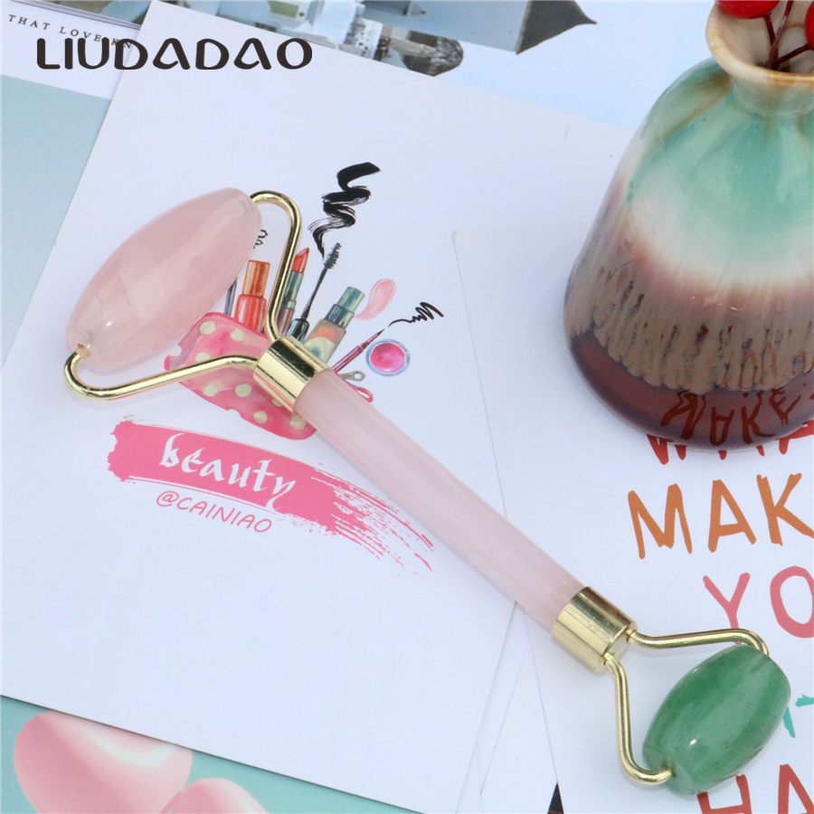 LIUDADAO New Mixed Face Rollers Natural Crystal Skin Care Facial Massager Rose Quartz Aven