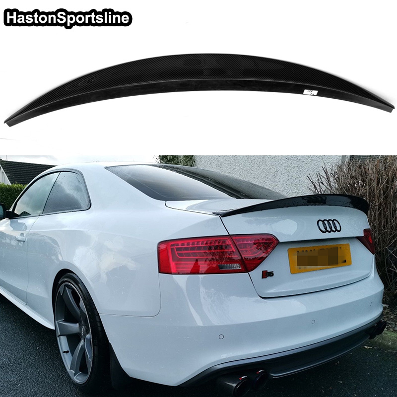 For Audi S5 B8/B8.5 Coupe 2008-2015 Carbon Fiber Trunk Spoile Wing HK Style image