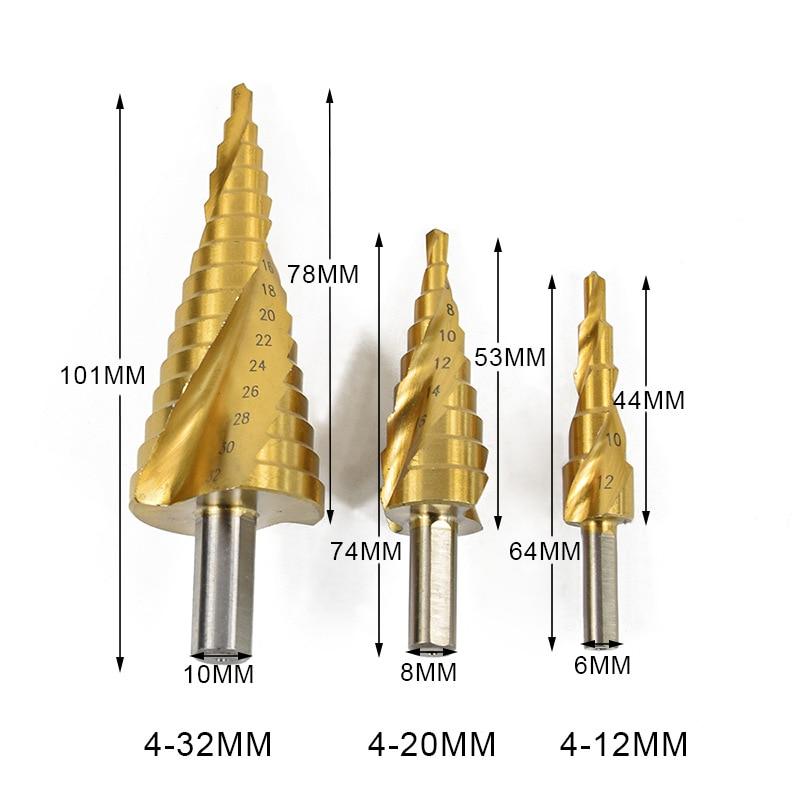 4-32/4-20/4-12mm Triangulation Handle Drill Bit Metric System Step Bit Spiral Groove Titanium Plating Drill Bit 3Pcs