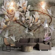 3D wallpaper three-dimensional magnolia map professional production murals custom home background wall covering