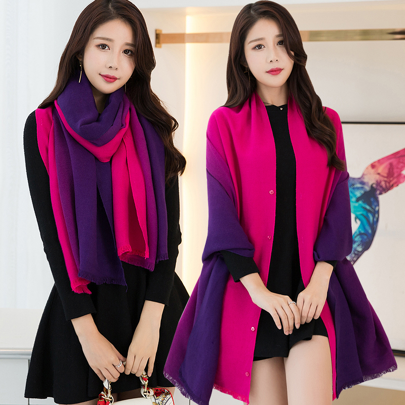 US $16 27 45% OFF|Wearable Gradient Color Shawls and Wraps for Lady Winter  Warm Scarf Women Luxury Soft Capes All Match Pashmina Reversible Poncho-in