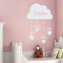 Customized Babys Name Wall Sticker Nursery Cloud Vinyl Wall Decal Stars Gift Wall Mural Personalizd Name Girls Room Decor AY960 цена