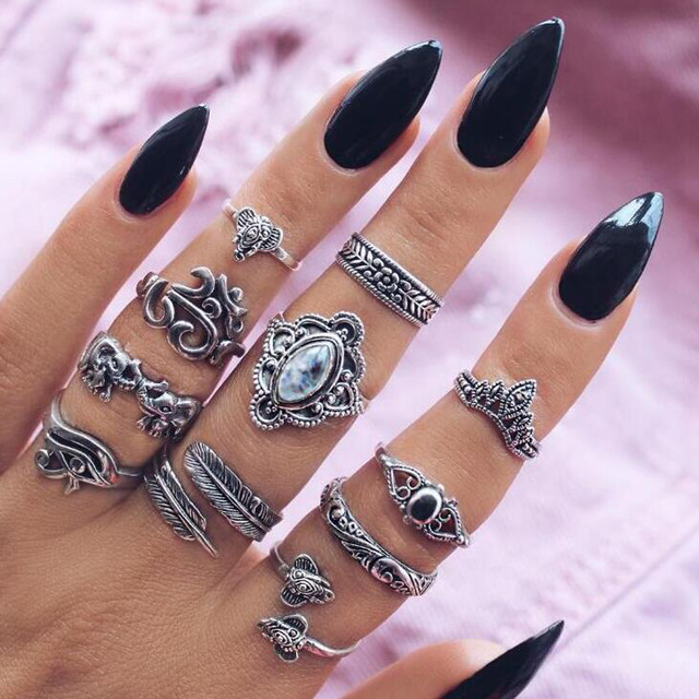 HuaTang Bohemian Antique Silver Ring Geometric Elephant Flower Green Rhinestone Knuckle Rings Midi Finger Anel Rings Jewelry 52