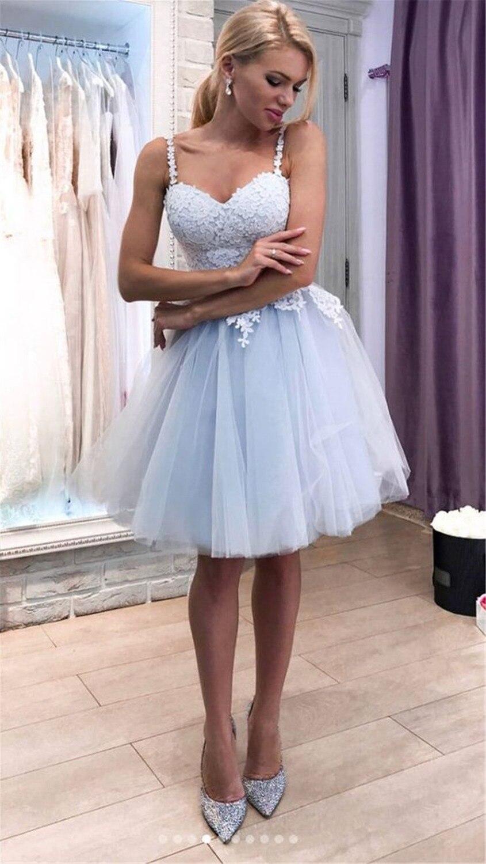 Haute qualité bleu clair Tulle robes de bal merveilleuse dentelle Appliques chérie genou longueur courte soirée robe de soirée pas cher