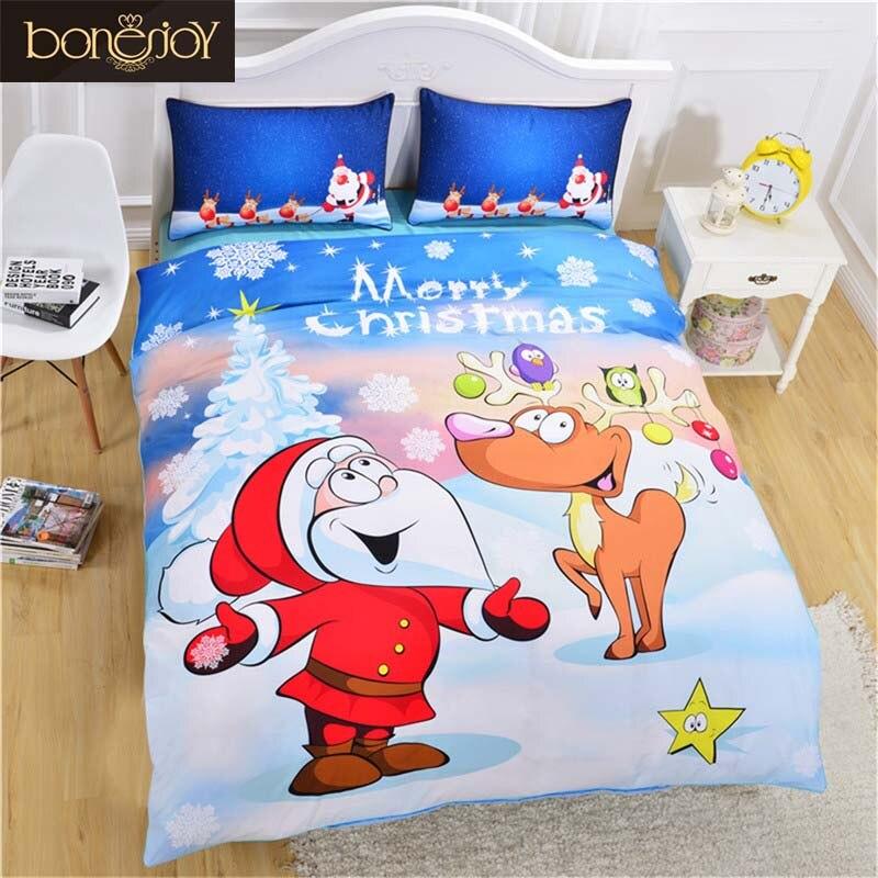 Bonenjoy Christmas Bedding Set For Kids Cartoon Santa Claus and Snowman Print Bed Linen Twin Size Children Christmas Bedding