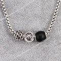 Thomas Zigzag & Obsidian Bead Necklace Fit Karma Bead, European Rebel Heart Style Jewelry for Men TS-N189