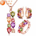 FYM Colorful Jewelry Sets Cubic Zircon Hypoallergenic Rose Gold Plated Necklace/ Earrings/Ring Wedding Jewelry for Women JS0014