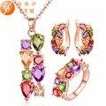 Fym colorido conjuntos de jóias cubic zircon hipoalergênico rosa banhado a ouro colar/brincos/anel de casamento jóias para as mulheres js0014