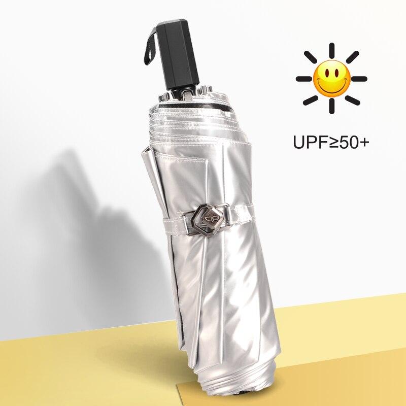 Upf50+ Silver Coating Parasol Women Sun UV Protection 3 Fold Flower Printed Umbrella Portable Female Romantic Rain Umbrella U5U